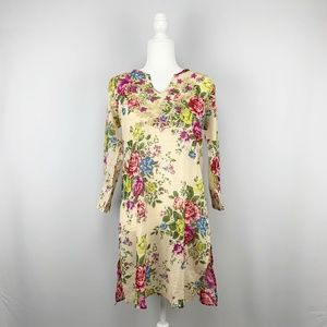100% Cotton Embroidered Floral Print Tunic Top